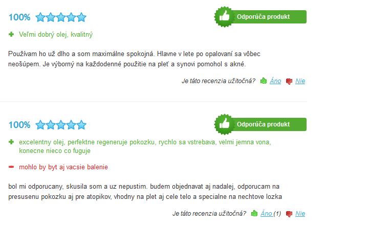 Argánový olej - skúsenosti na heureka.sk