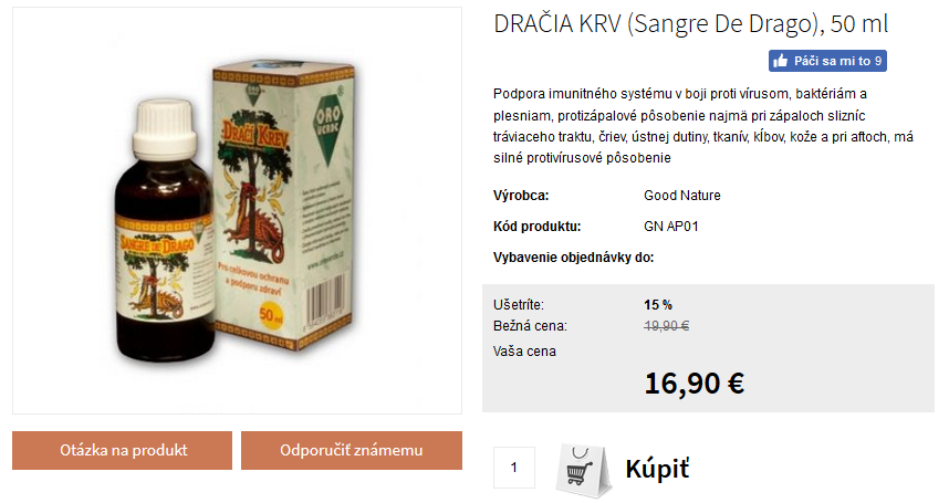 Dračia krv kvapky - cena 17€
