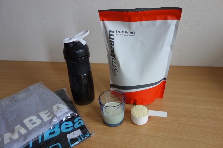 Gymbeam srvátkový proteín a shaker