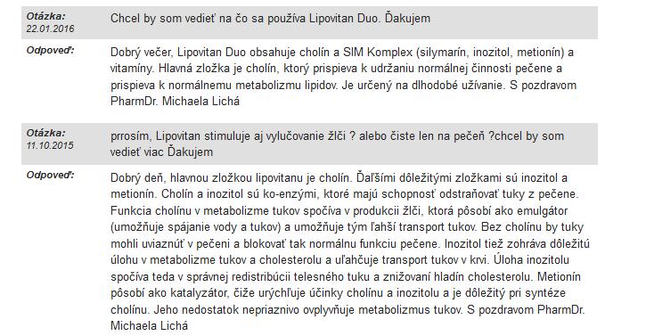 Skúsenosti a diskusia k výživovému doplnku Lipovitan
