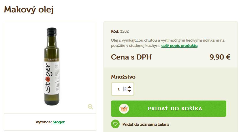 Makový olej - cena v eshope