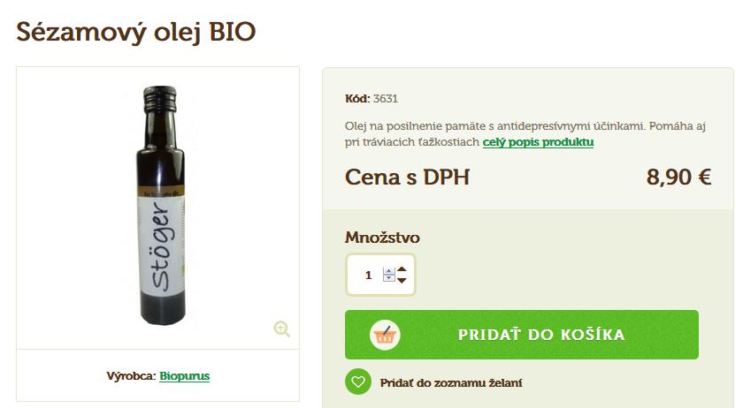 bio sezamový olej - cena