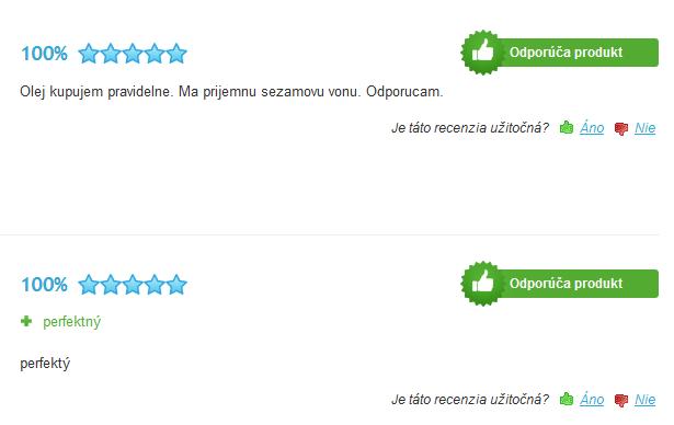 sezamový olej skúsenosti a recenzie na heureka.sk